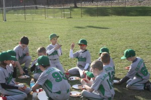 Pizza and stories were had between games in the doubleheader.